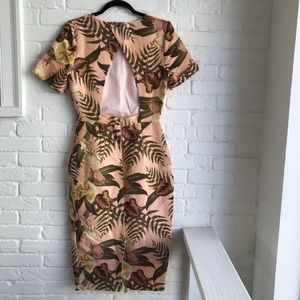 ASOS Pink Cocktail Leaf Midi Dress SZ 4 Fitted